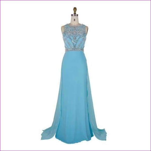 Nude Color Tulle Jersey Chiffon See Through Back Beading Handwork Evening Dresses - Light blue / 4 - Evening Dresses
