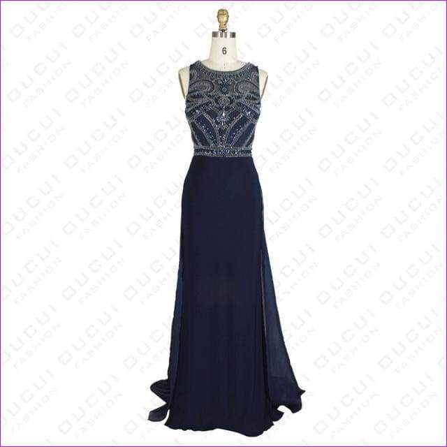 Nude Color Tulle Jersey Chiffon See Through Back Beading Handwork Evening Dresses - Navy blue / 4 - Evening Dresses