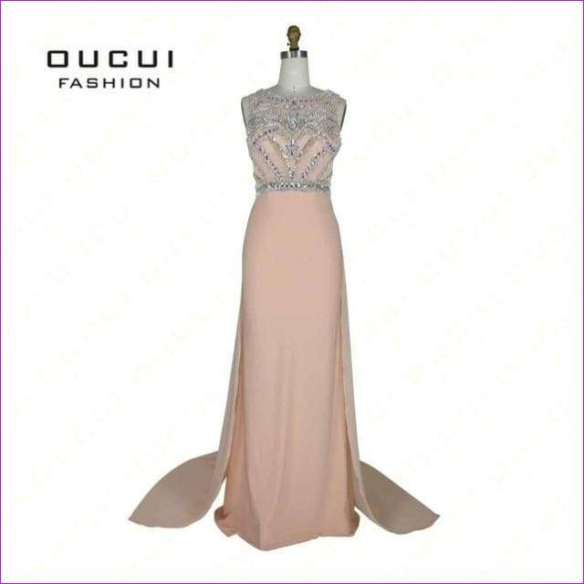 Nude Color Tulle Jersey Chiffon See Through Back Beading Handwork Evening Dresses - Peach / 4 - Evening Dresses