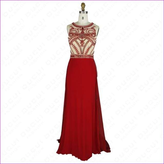Nude Color Tulle Jersey Chiffon See Through Back Beading Handwork Evening Dresses - Red / 4 - Evening Dresses