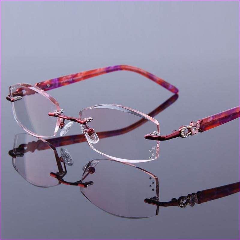 Optical Hyperopia Clear Rimless Rhinestone Womens Red Frames Glasses - Reading Glasses