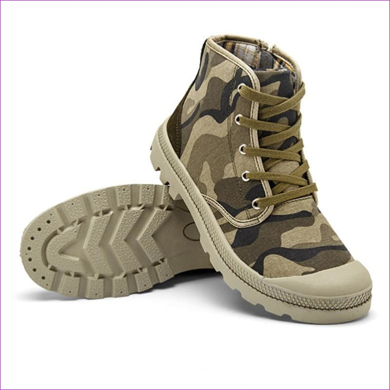 Outdoor Men Plus size Autumn Military Camouflage traveling Camping Climbing Lace Up High Top Sneakers Canvas Sport Skate Shoes - Walking
