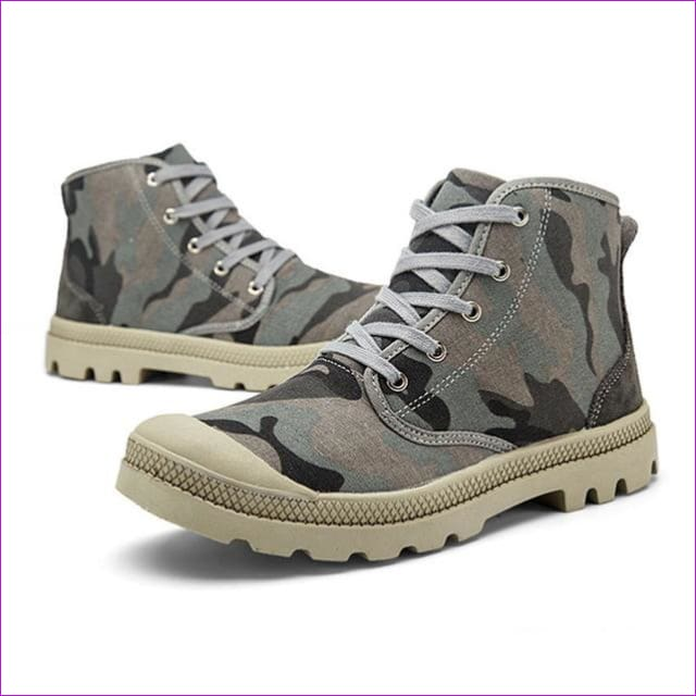 Outdoor Men Plus size Autumn Military Camouflage traveling Camping Climbing Lace Up High Top Sneakers Canvas Sport Skate Shoes - grey camo /