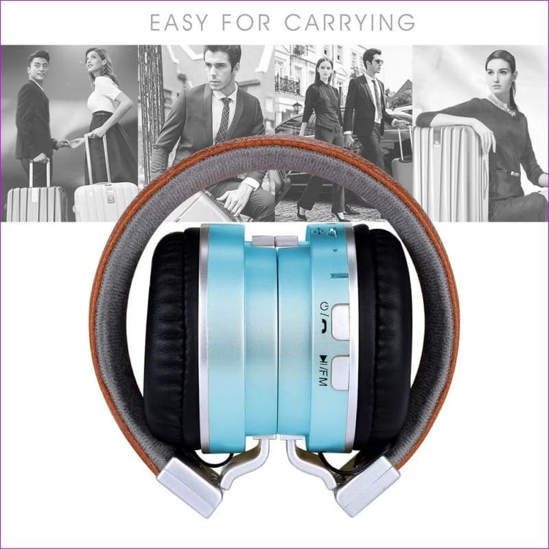 Over Ear Stereo Wireless Headset With Microphone TF - Blue - Wireless Electronics
