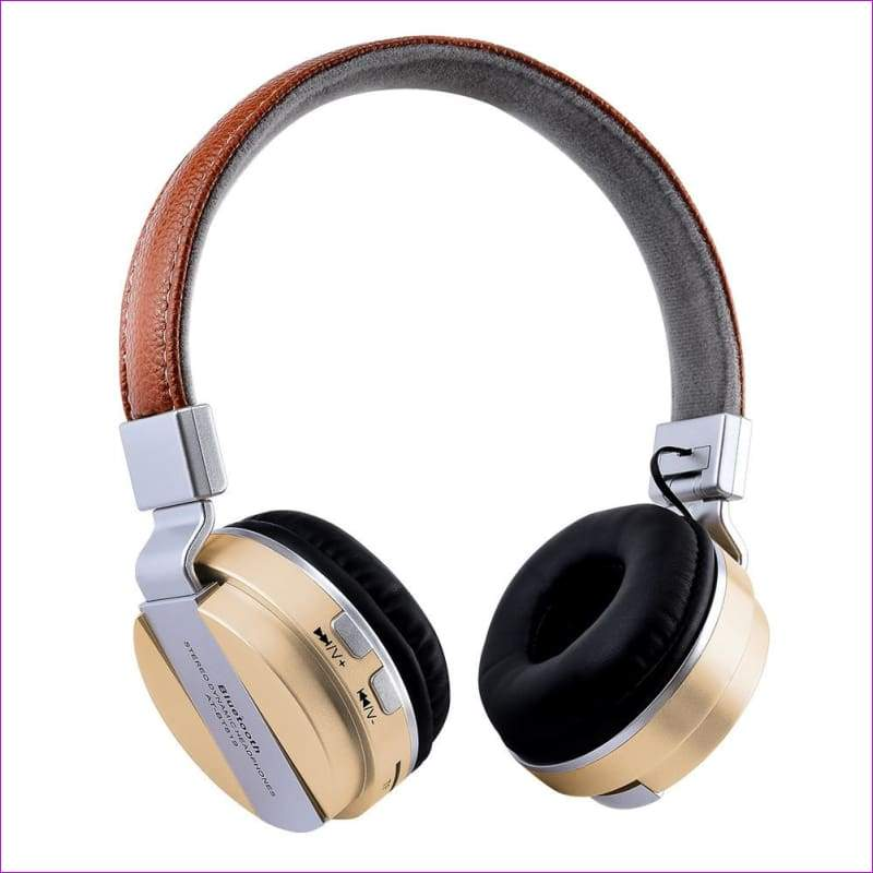 Over Ear Stereo Wireless Headset With Microphone TF - Gold - Wireless Electronics