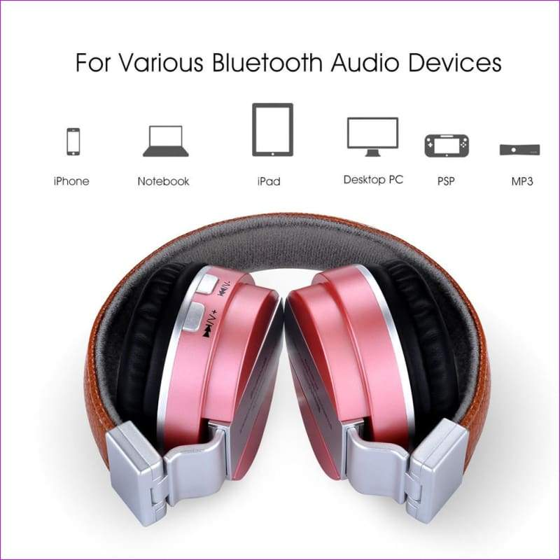 Over Ear Stereo Wireless Headset With Microphone TF - Rose Gold - Wireless Electronics