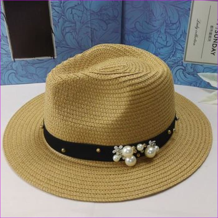 oZyc New Spring Summer Hats For Women Flower Beads Wide Brimmed Jazz Panama Hat Chapeu Feminino Sun Visor Beach Hat Cappello - jazz Beige -