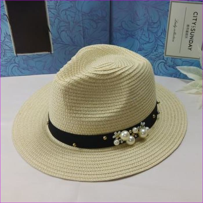 oZyc New Spring Summer Hats For Women Flower Beads Wide Brimmed Jazz Panama Hat Chapeu Feminino Sun Visor Beach Hat Cappello - jazz brown -