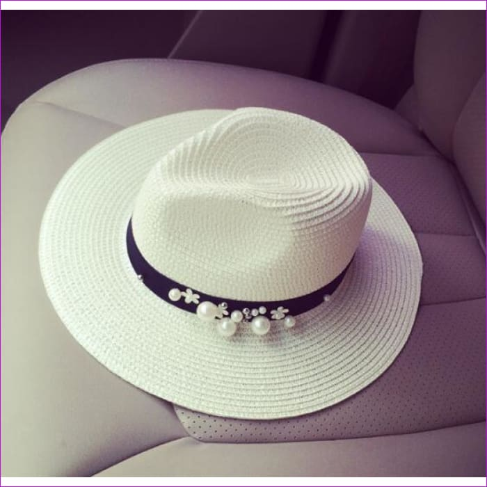 oZyc New Spring Summer Hats For Women Flower Beads Wide Brimmed Jazz Panama Hat Chapeu Feminino Sun Visor Beach Hat Cappello - jazz milk