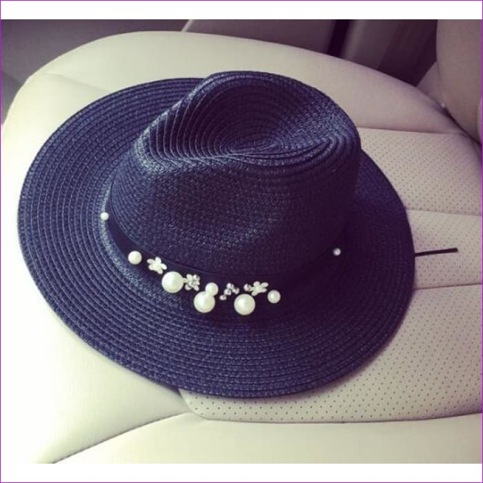 oZyc New Spring Summer Hats For Women Flower Beads Wide Brimmed Jazz Panama Hat Chapeu Feminino Sun Visor Beach Hat Cappello - jazz navy