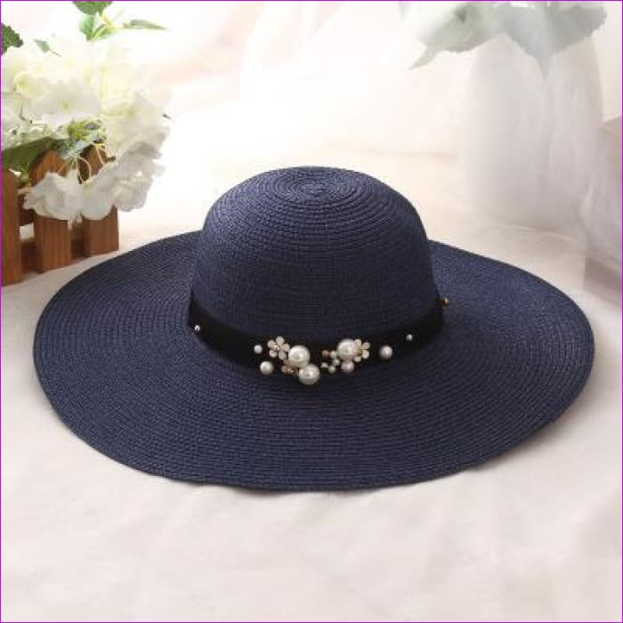 oZyc New Spring Summer Hats For Women Flower Beads Wide Brimmed Jazz Panama Hat Chapeu Feminino Sun Visor Beach Hat Cappello - navy blue -