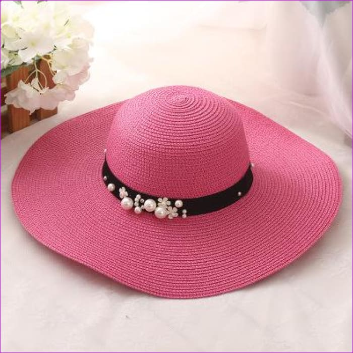 oZyc New Spring Summer Hats For Women Flower Beads Wide Brimmed Jazz Panama Hat Chapeu Feminino Sun Visor Beach Hat Cappello - Rose red -