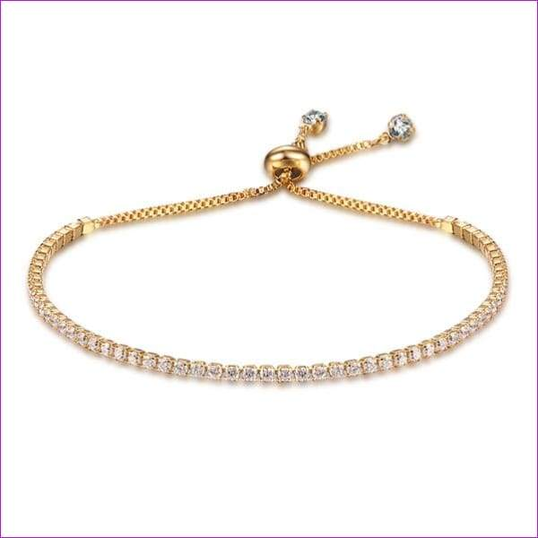 Party Jewelry Adjustable Bracelet For Women 2mm Cubic Zirconia Gold Color Blacelets & Bangles Gift For Her (JewelOra BA101437) - Gold-color