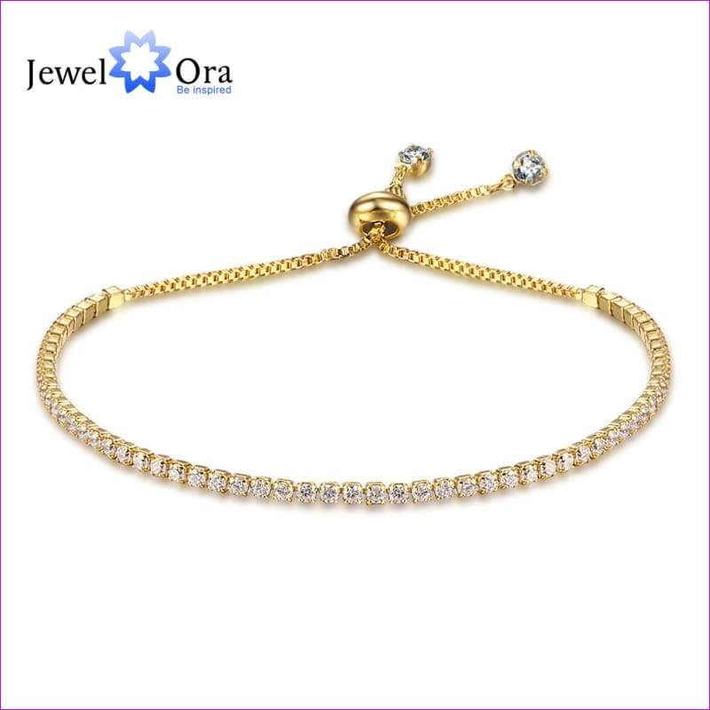 Party Jewelry Adjustable Bracelet For Women 2mm Cubic Zirconia Gold Color Blacelets & Bangles Gift For Her (JewelOra BA101437) - Bracelets