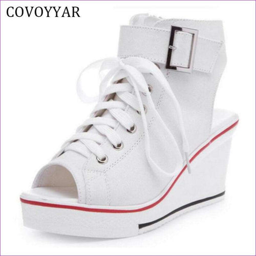 Peep Toe Wedge Women Sandals Lace Up Women Canvas Shoes 35-42 - Sandals