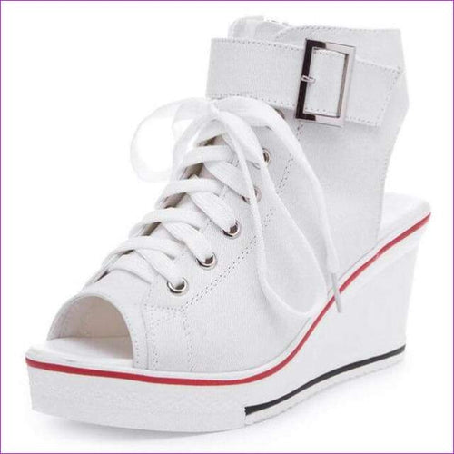 Peep Toe Wedge Women Sandals Lace Up Women Canvas Shoes 35-42 - White / 5 - Sandals