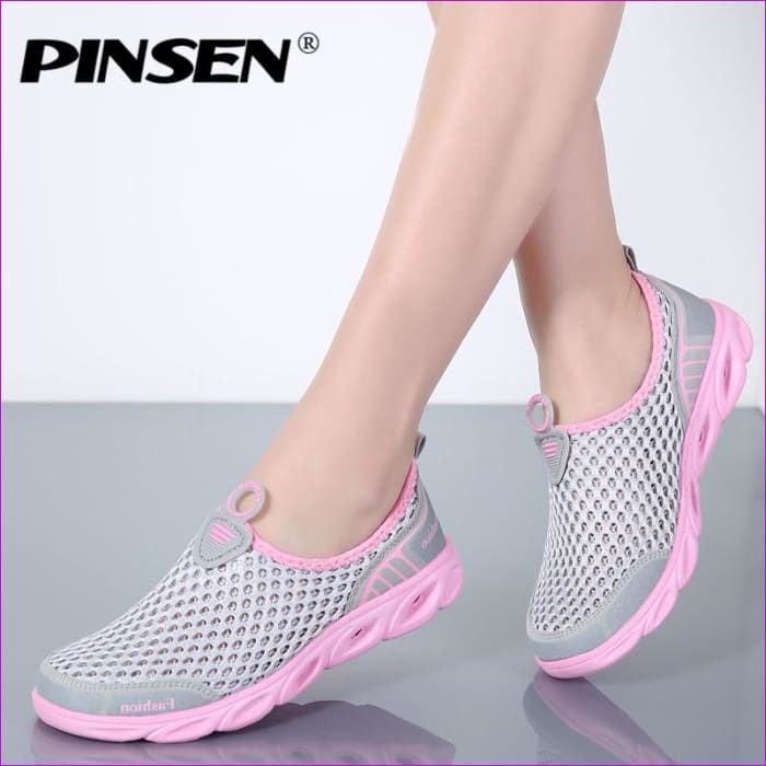 PINSEN Casual Shoes Woman Slip-On Platform Flats Female Breathable - Walking Shoes Casual Shoes cf-color-dark-gray cf-color-gray-pink