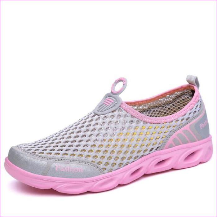 PINSEN Casual Shoes Woman Slip-On Platform Flats Female Breathable - Gray Pink / 5.5 - Walking Shoes Casual Shoes cf-color-dark-gray