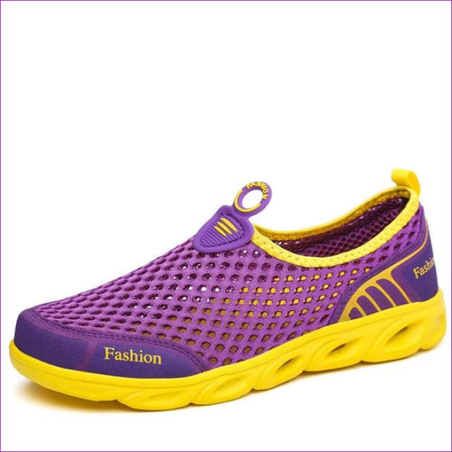 PINSEN Casual Shoes Woman Slip-On Platform Flats Female Breathable - Purple / 5.5 - Walking Shoes Casual Shoes cf-color-dark-gray