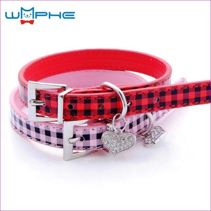 Plaid Pet Dog Collar Grid Puppy Cat Choker Necklaces With Rhinestone Heart Bling Crystal Pendant Collar Perro