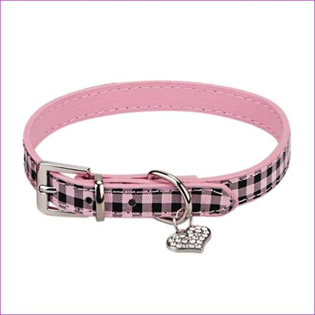Plaid Pet Dog Collar Grid Puppy Cat Choker Necklaces With Rhinestone Heart Bling Crystal Pendant Collar Perro - Pink / L
