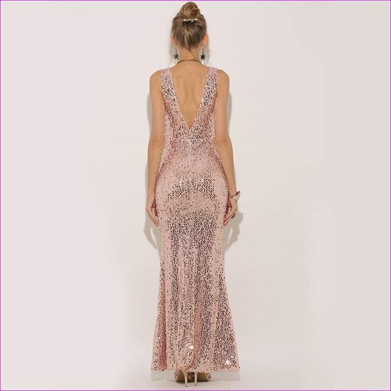 Plunge V-neck Women Sexy Maxi Dress Gold Mermaid Sequin Metallic Long Trumpet Dresses - Casual Dresses