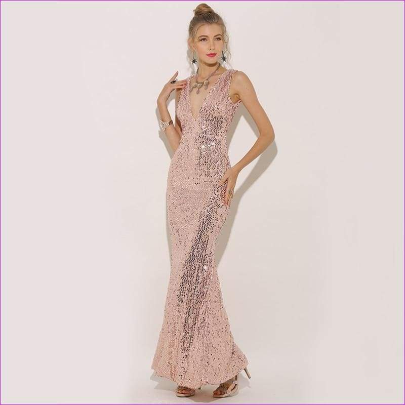 e09c66d13e5 Plunge V-neck Women Sexy Maxi Dress Gold Mermaid Sequin Metallic Long  Trumpet Dresses -