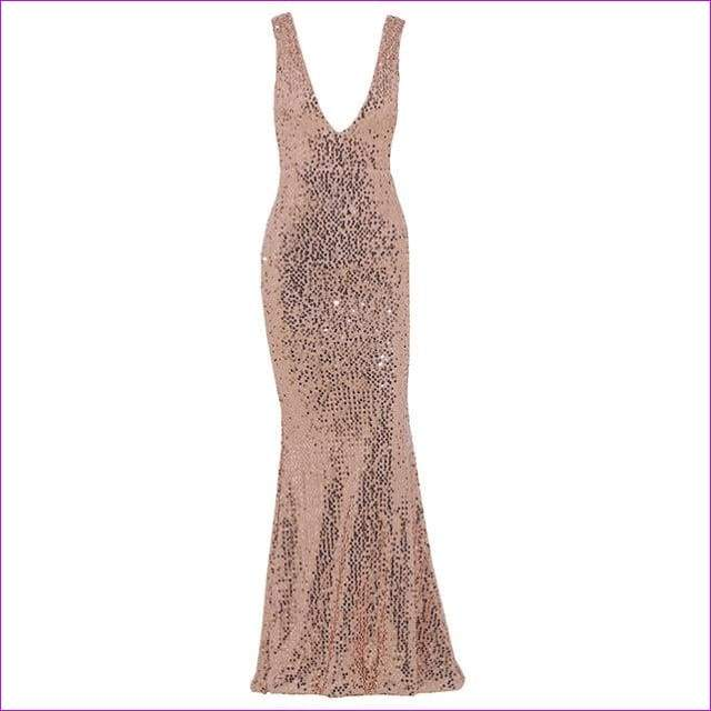 Plunge V-neck Women Sexy Maxi Dress Gold Mermaid Sequin Metallic Long Trumpet Dresses - Rose Gold / L - Casual Dresses