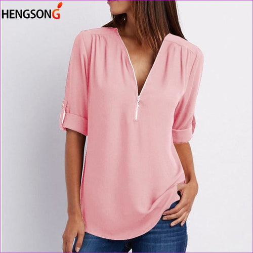 Plus Size 5XL Women Blouse Tops 2018 New Casual Women Long Sleeve Solid Loose Chiffon Shirt Blouses Ladies V-Neck Zipper Blouse - Blouses