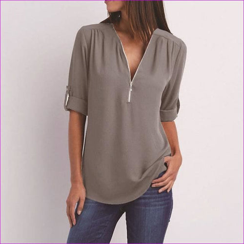 Plus Size 5XL Women Blouse Tops 2018 New Casual Women Long Sleeve Solid Loose Chiffon Shirt Blouses Ladies V-Neck Zipper Blouse - gray / S -
