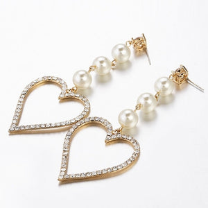 Rhinestone Earrings Big Heart Pearl Crystal Simple Dangle Wedding Earrings