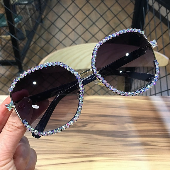 Rhinestone square Sun glasses oversized sunglasses Shades for women