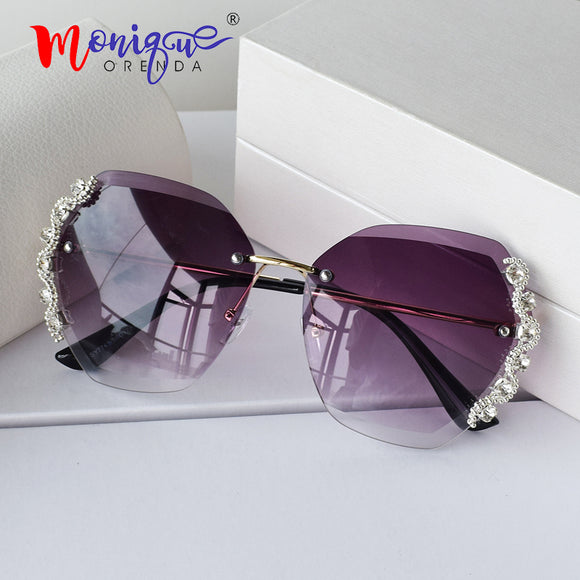 Rhinestone luxury designer diamond gradual rimless sun glasses female shades trend new wave