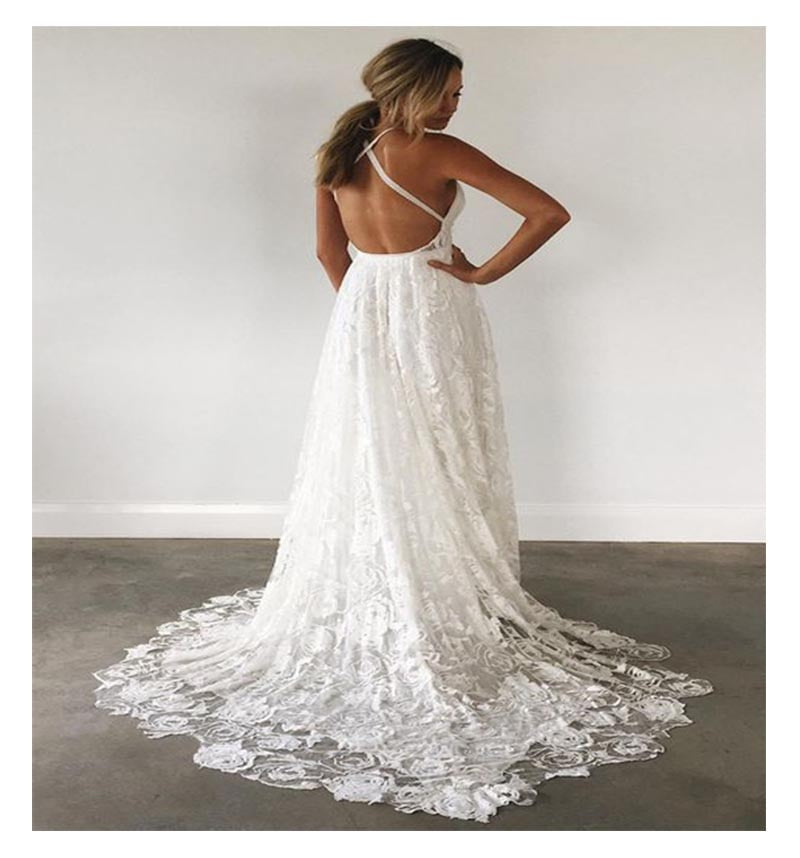 Backless Floor Length White Ivory Lace Chiffon with Bridal Gown Halter Lace