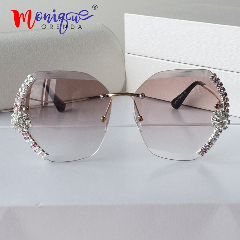 Rhinestone rimless sunglasses diamond brand shades rhinestone