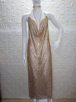 Bling Metal Chain Crystal Diamond Dress Night club Gold silver Sequins