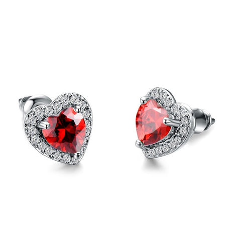 Black, Green, Red, White Stud Earrings 925 Silver Small Heart Earrings