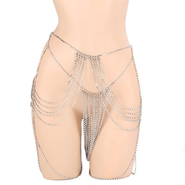 Rhinestones Leg Thigh Chain Shiny Body Chain Leg Thigh Harness Jewelry