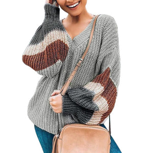 V-neck Lantern Sleeve Stripe Colorblock Sweaters Loose Pullover Plus Size