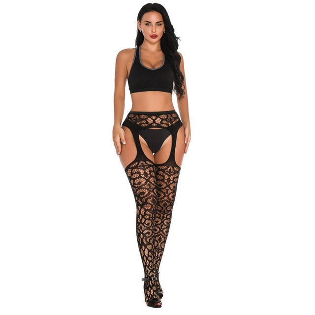 HOT SELLING Black Lace Fishnet Stockings Open Crotch Tights Lace Sexy Hosiery Women Thigh High Stockings Pantyhose