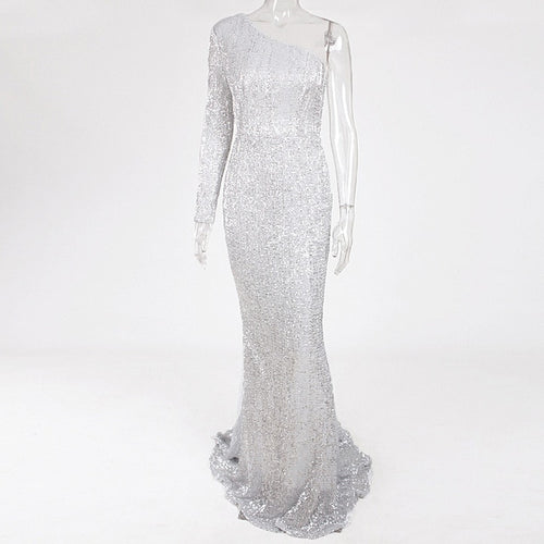 Silver Sequin One Shoulder Stretchy Dress Full Lining Floor Length Backless Mermaid Tight Dress