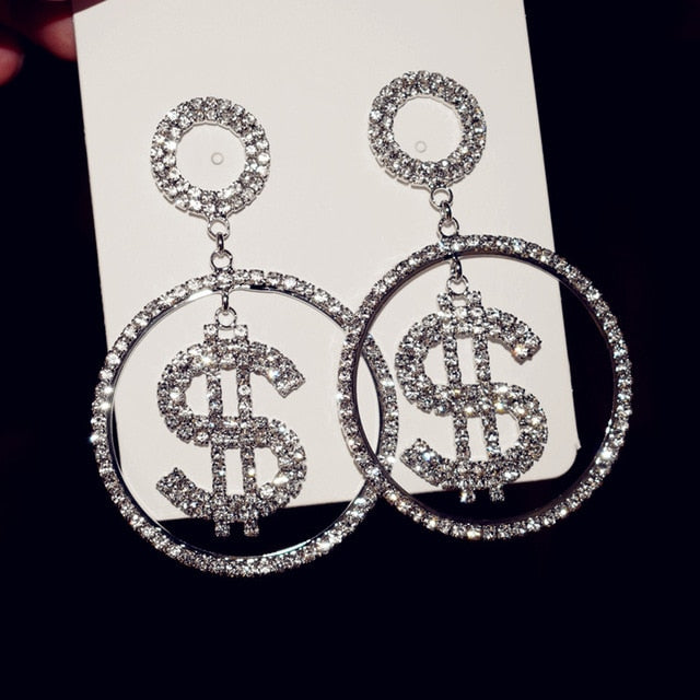Novelty Rhinestone Dollar Charms Dangle Earrings for Women Fashion Jewelry