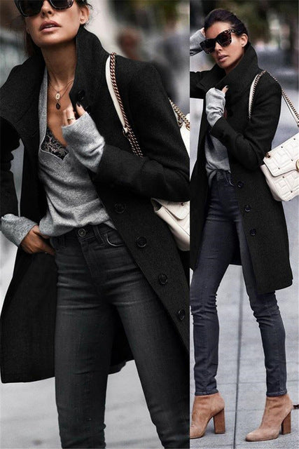 Casual Black White Solid Single-breasted Street Turn-down Collar Coat Long Coat Wool
