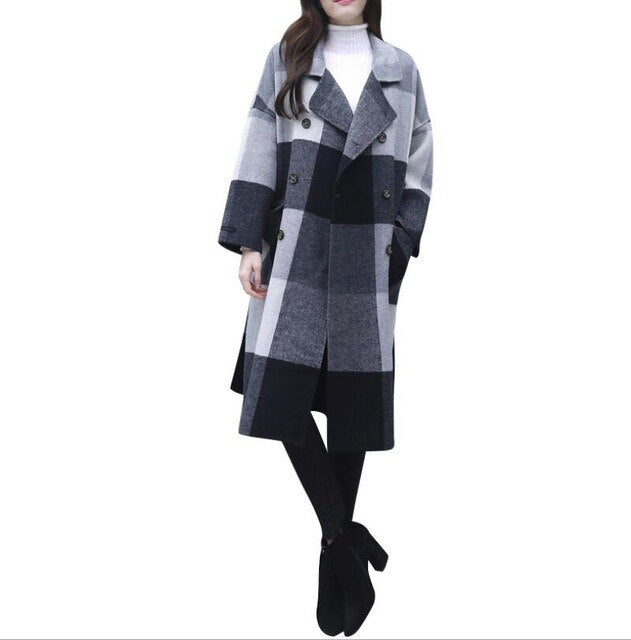 Plaid loose belted wool overcoat slim versatile thick long lapel double row buckle coat