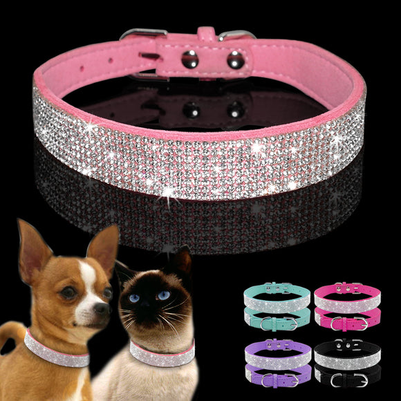 Bling Dog Cats Kitten Pet Collar for Chihuahua Yorkshire French Bulldog XS