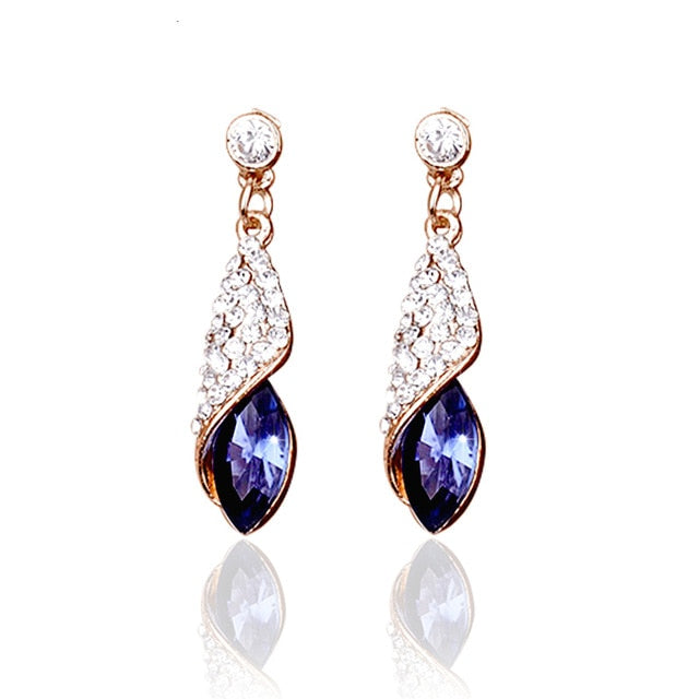 Bling Crystal Water Drop Earrings Wedding Pierced Dangle Earrings 4 colors