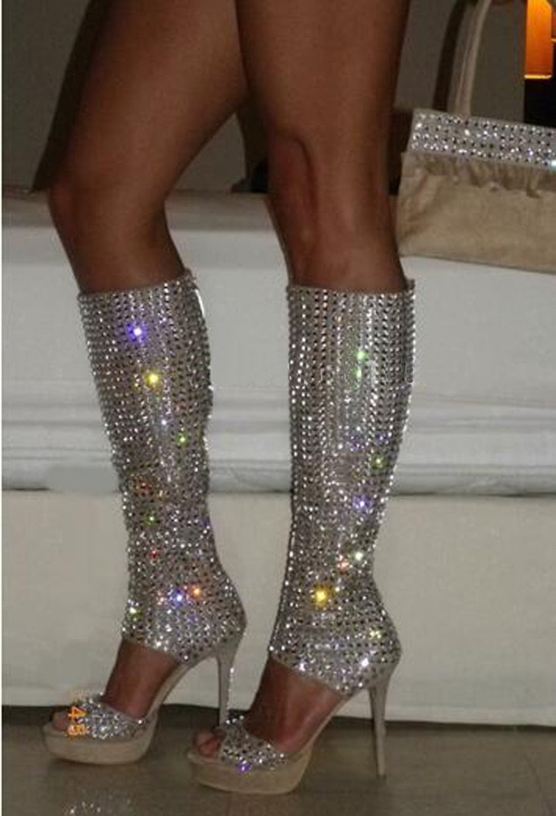 Bling Open Toe Rhinestone Knee High Boots Cut-out Crystal Long