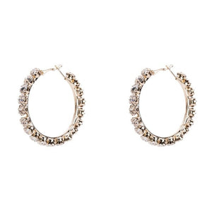 Shiny Rhinestone Hoop Earrings for Women Fashion Jewelry