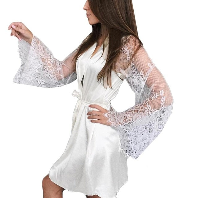 Lace Bathrobe Womens Robes Sleepwear Lingerie Robe Belt Loose Nightgowns