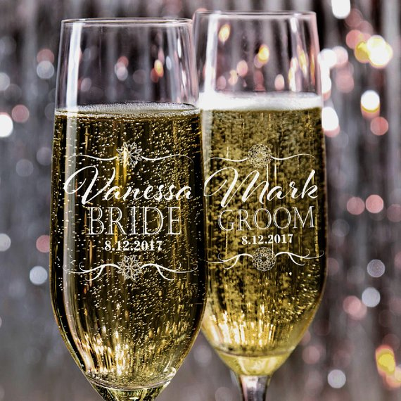 Mr. And Mrs. Wedding Toasting Flutes Wedding Glasses Personalized Champagne Flutes Engraved